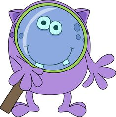 Monster with Magnifying Glass Clip Art - Monster with Magnifying Glass Image Cartoon Monsters, Cute Monsters, Little Monsters, Happy Monster, Monster Mash, Monster Theme Classroom, Monster Clipart, Monster Crafts, Monster Under The Bed