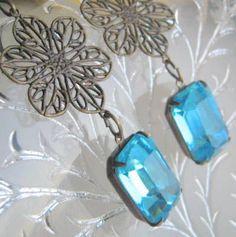 Vintage Glass Rhinestone Filagree Earrings by Ormolou on Etsy, $16.00