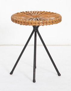 Dirk van Sliedrecht; Enameled Metal and Rattan Stool for Rohe Noordwolde, 1950s.