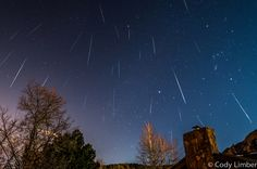 The Geminid meteor shower peaks the week of Dec. Astrophotographer Cody Limber took this composite image during the Geminid meteor shower on Dec. Night Sky Photos, Moon Setting, Arts Integration, Science Photos, Meteor Shower, Solar Eclipse, Space Travel, Live In The Now, Sky