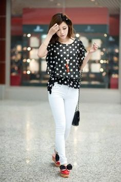 Lovely Dot Printed Chiffon Flouncing T-Shirt Black on BuyTrends.com, only price $13.75