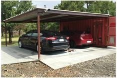 Shipping Container Storage and Carport Idea