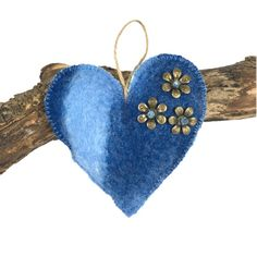 Felted, padded heart in blue shades of merino wool  (1)    #Folksy365, #newonfolksy #folksyshop  £4.00