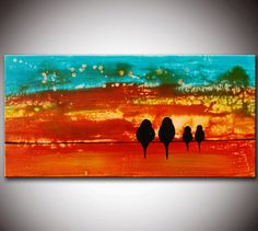 Birds on Wire Original Modern Abstract Colorful Birds Painting by Helen - Sunset Birds on Wire Painting Long Painting, Orange Painting, Family Painting, Wedding Painting, Silhouette Painting, Art Party, Ship Art, Colorful Birds, Art Plastique