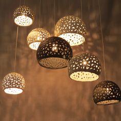 7 white, gray and black ceramic ceiling lamps. Hanging light. Pandant light. Chandelier. by rachelnadlerceramics on Etsy https://www.etsy.com/listing/198393787/7-white-gray-and-black-ceramic-ceiling