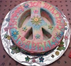 Tye-Dye Peace Sign Cake By momade on CakeCentral.com