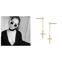 Chain Cross Earrings www.wishbone.pl