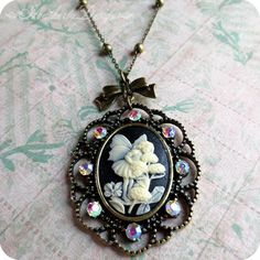 Fairy Enchanting: flower fairy cameo and aged brass beaded chain necklace by Heatherly Designs
