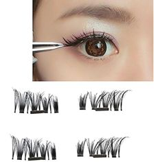 DZT1968 4pcs Ultra-thin 0.5mm 8-11mm Magnetic 3D Reusable False Magnet Eyelashes without glue *** Read more  at the image link. (This is an affiliate link and I receive a commission for the sales) #TattooInks