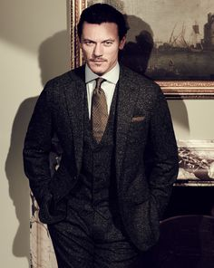 Luke Evans in a Thom Sweeney Donegal three-piece