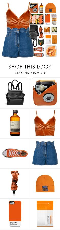 """Summer Velvet"" by my-artsy-soul ❤ liked on Polyvore featuring Givenchy, Polaroid, Aesop, Boohoo, Converse, Valentino, Case Scenario, Clinique and velvet"