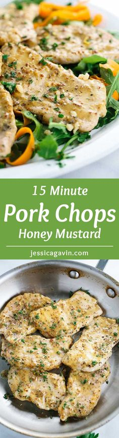 15 Minute Honey Mustard Pork Chops - In a rush for dinner? Here's a quick recipe for sauteed lean pork glazed with a tangy and sweet mustard sauce. | jessicagavin.com