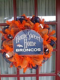 Denver Bronco Orange Navy Welcome Fans Deco Mesh by CrazyboutDeco, $89.00