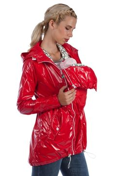 maternity raincoat red pvc vinyl shiny lackmantel ciré