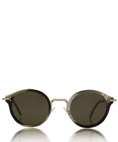 Celine Monochrome Joe Round Metal Bridge Sunglasses