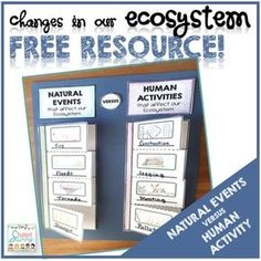 Ecosystem Freebie! This fun foldable activity will allow students to learn the differences between human activity and natural events that can impact our ecosystems. They draw an example of each type of event or activity and write a sentence inside the flap using an example of how it affects the ecosystem.