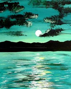 ( 3 of 4 ) - ABSTRACT ARTS HOME DECOR BEAUTIFUL SUNSET IN GREEN / TEAL - BEAUTIFUL PAINTING - Teo Alfonso
