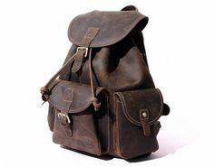 Image of Large Size Vintage Leather Backpack Rucksack School Backpack 8891L
