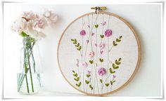 Ribbon Embroidery hoop wall art Pink Rose by KawaiiSakuraHandmade
