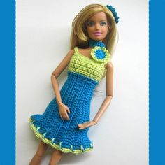 Handmade barbie clothes turquoise blue dress headband made to order   loststitch - Dolls & Miniatures on ArtFire