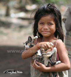 Girl with cat in Kratie Cambodia