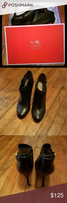 Black Coach Boots BLACK BOOTIE STYLE, 4INCH HEELS, WORN 3 TIMES ONLY!!! Coach Shoes Ankle Boots & Booties