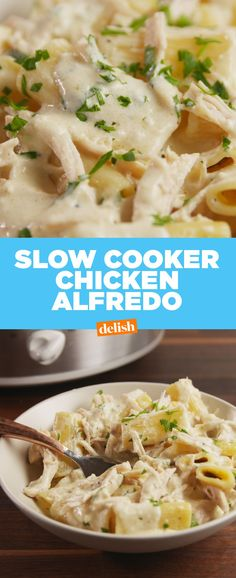 You Can Cook Chicken Alfredo From Start To Finish In Your Slow CookerDelish Slow Cooker Huhn, Crock Pot Slow Cooker, Slow Cooker Chicken, Slow Cooker Recipes, Crockpot Recipes, Crockpot Chicken Alfredo, Chicken Recipes, Crock Pots, Crockpot Dishes