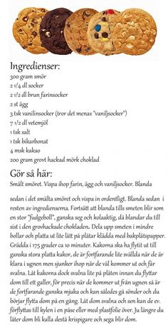 tips: subway kakor Diet Food List, Food Lists, Subway Cookies, No Bake Desserts, Dessert Recipes, Baking Recipes, Cookie Recipes, Swedish Recipes, Fika