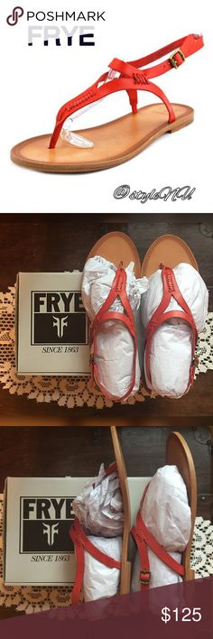 """🆕 FRYE sandals Leather Imported Leather and Rubber sole Heel measures approximately 0.5"""" Thong sandal featuring whipstitched seams and adjustable buckle at ankle.            NEW IN BOX! Frye Shoes Sandals"""