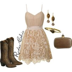 """""""Whiskey Lullaby"""" by rodeo-chic on Polyvore, Lace dress with cowboy boots by /danpostbootco/ western"""