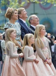 Dutch Queen Maxima, King Willem-Alexander with their three children (L-R)Princesses Alexia, Ariane and Crown Princess Amalia attends the 2014 King's Day celebrations.