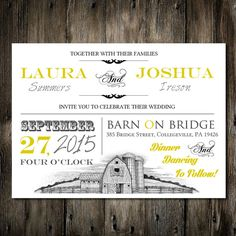 5x7 Yellow Barn Rustic Wedding Invitation Template Printable Digital PDF File