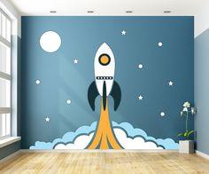 Houten muurdesign Raket jongenskamer 286 x 226 cm (bxh). Kids Room Murals, Kids Room Paint, Bedroom Murals, Kids Bedroom, Nursery Murals, Toddler Rooms, Baby Boy Rooms, Star Wars Kindergarten, Space Baby Shower