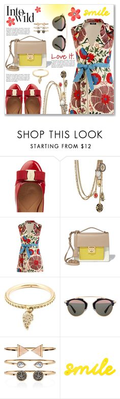 """Happy Mood :)"" by dressedbyrose ❤ liked on Polyvore featuring Salvatore Ferragamo, Alexander McQueen, Mochi, Loree Rodkin, Christian Dior, Anja, Accessorize and red flower"