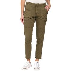 Volcom Stand Up Cargo Pants Women's Casual Pants, Olive ($22) ❤ liked on Polyvore featuring pants, olive, zip pocket pants, brown cargo pants, olive green pants, sport pants and volcom pants
