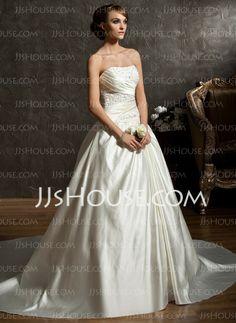 Vestidos de noiva - $168.29 - De baile Coração Cauda capela Cetim Vestidos de noiva com Pregueado Bordado (002011522) http://jjshouse.com/pt/De-Baile-Coracao-Cauda-Capela-Cetim-Vestidos-De-Noiva-Com-Pregueado-Bordado-002011522-g11522
