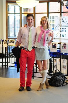 Corey and Quincy  Spirit Week - Preppy Day  It's Preppy Day, (I think that name is self-explanatory) the day where we further reinforce our stereotypes… but let's be real here, we go to prep school.
