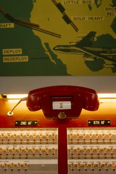 """""""Red Phone"""" installed for the Strategic Air Command (SAC) Primary Alert System, installed at the SAC underground command post Offutt AFB, NE by the Bell System in June 1959."""