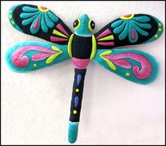 """Dragonfly Garden Art  17""""  Haitian Hand Painted  - Steel drum metal art from Haiti -by TropicAccents, $29.95"""