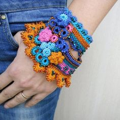 Unique beaded crochet bracelet cuff in orange, deep blue, cerulean blue and pink colors. This bracelet crochet from cotton thread, is Freeform Crochet, Bead Crochet, Cute Crochet, Crochet Motif, Vintage Crochet, Crochet Flowers, Crochet Lace, Crochet Patterns, Beaded Cuff Bracelet
