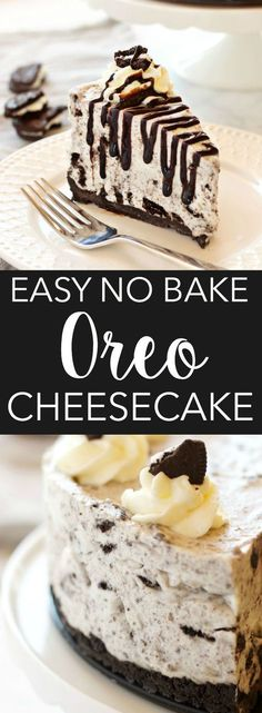 This Easy No Bake Oreo Cheesecake is smooth and creamy - it's the perfect cheesecake recipe and it's SO easy to make! Recipe from thebusybaker.ca! #foodanddrinkdesserts