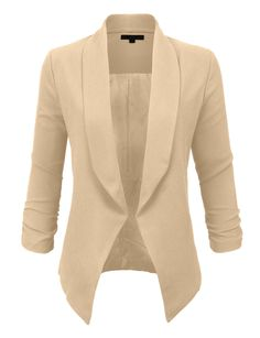 Step out of the box with our textured 3/4 sleeve open blazer jacket for all of your fashion needs. The textured crepe fabric gives the blazer an edgy feel to the blazer. Pair it with a fitted midi dress for a girls night out with heels. Feature 100% Polyester Lightly textured fabric with stretch for a chic look / Semi inner lining Features an open fold back collar with light shoulder padding for a structured look Front angular draped longer than back / Cinched sleeves for style Hand in cold…