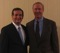 """Senator Ted Cruz (R-TX) with Illinois Republican gubernatorial nominee, Bruce Rauner at Hispanic Republicans gathered at the DuPage Lincoln Day Dinner.  What does these two men have in common? They share a political philosophy"""" Both want to take away your health care policy, forcing you to fend for yourself."""