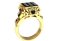 14 k Yellow Gold Vintage Engagement Ring With Black by VOLISA