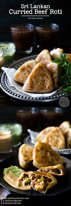 Curried Beef Roti - Snack sized Beef Stuffed Godhamba roti, a popular Sri Lankan snack, perfect for appetizers or parties via @theflavorbender