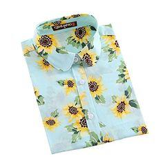 QIHUANG Womens Printed Dress Shirt Long Sleeve Button Down Blouses S Sky  blue     77447399a