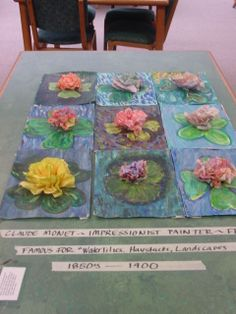 Monet- I would consider making them out of clay and putting them on a ceramic slab. Maybe even add blue marbles to make water