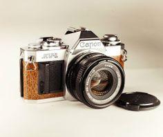 #Canon AV-1 / #Vintage SLR / Brown Skin / LightBurn Film Camera / 50mm f1.8 Lens /  £79.99