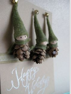 Christmas pine cone elf ornaments
