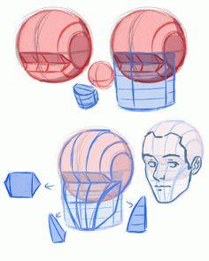 Anatoref - constructing the head top image row 2 & 3 row 4 - art рис Human Figure Drawing, Figure Drawing Reference, Pose Reference, Anatomy Drawing, Anatomy Art, Drawing Heads, Art Drawings, Drawing Faces, Digital Painting Tutorials